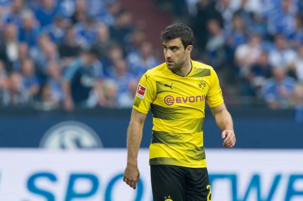 GELSENKIRCHEN, GERMANY - APRIL 15: Sokratis of Dortmund looks on during the Bundesliga match between FC Schalke 04 and Borussia Dortmund at Veltins-Arena on April 15, 2018 in Gelsenkirchen, Germany. (Photo by TF-Images/Getty Images)